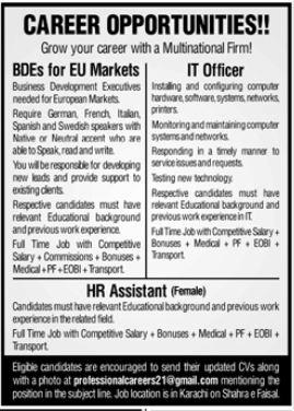 Multinational Firm Jobs 2021 in Karachi