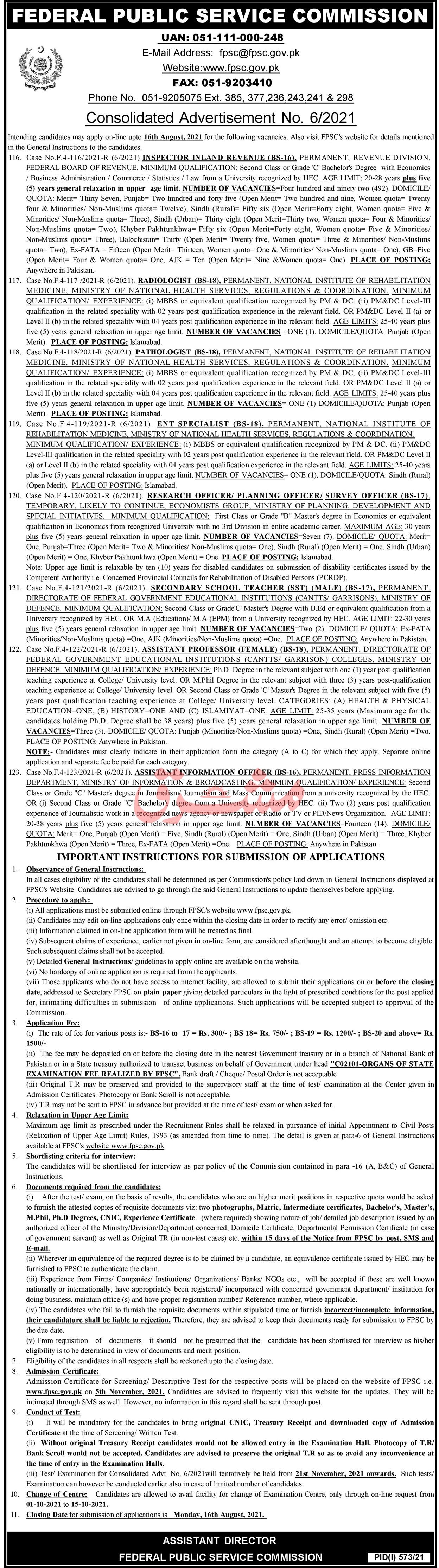 FPSC 1st August  2021 Jobs 2021