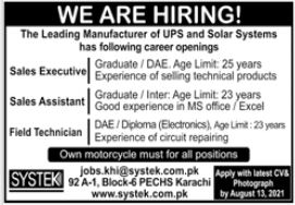Systek Privaate Limited Jobs 2021
