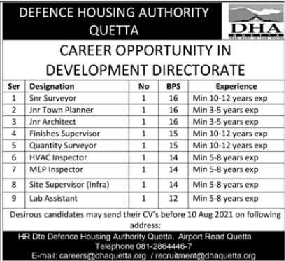Defence Housing Authority DHA Quetta Jobs 2021
