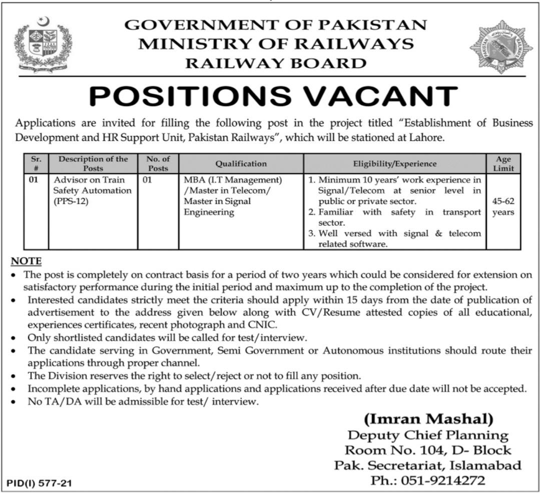 Ministry of Railways Job 2021 For Advisor In Lahore