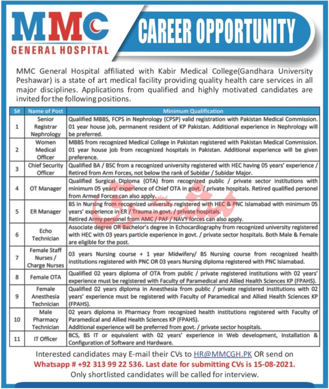 MMC General Hospital Medical Staff Jobs 2021