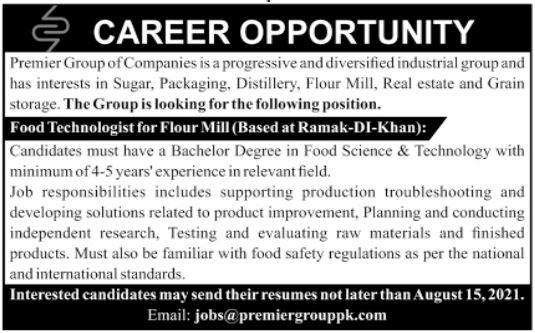Food Technologist Job 2021 In Dera Ismail DI Khan KPK