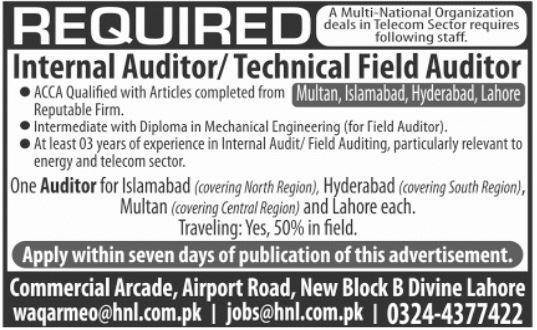 Internal Auditor & Technical Field Auditor Jobs 2021