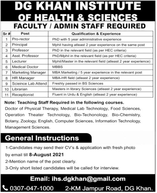 DG Khan Institute of Health & Sciences Jobs 2021