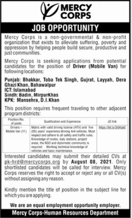 Mercy Corps Jobs 2021 for Driver