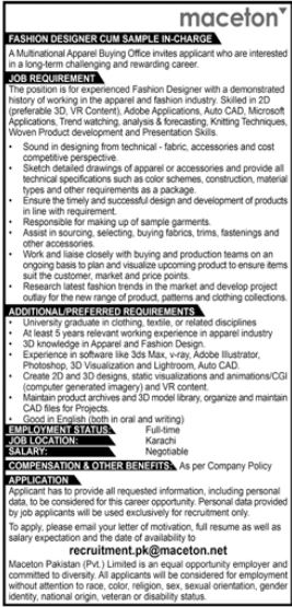 Multinational Apparel Buying Office Jobs 2021 in Karachi