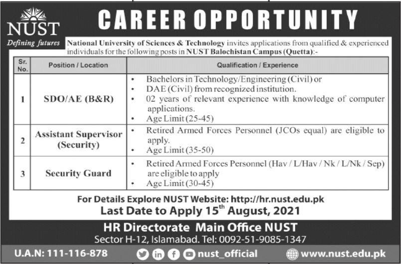 NUST Balochistan Campus Quetta Jobs 2021