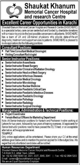 Shaukat Khanum Memorial Cancer Hospital Jobs 2021