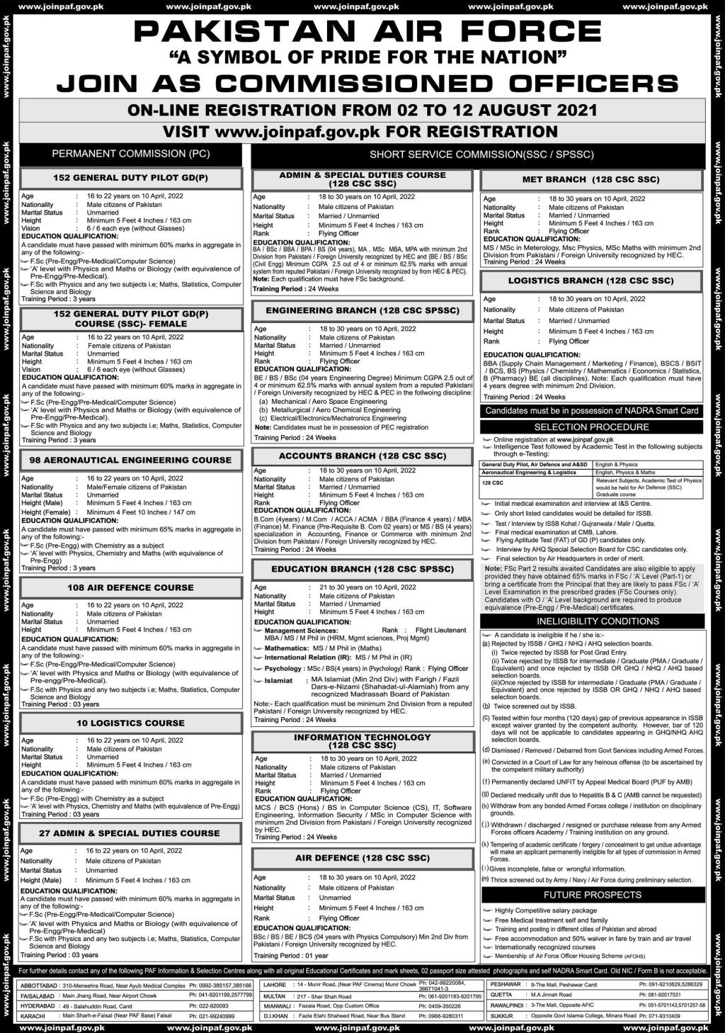 Join PAF as Commissioned Officer