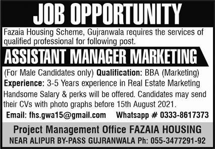Assistant Manager Marketing Jobs in Fazaia Housing Scheme
