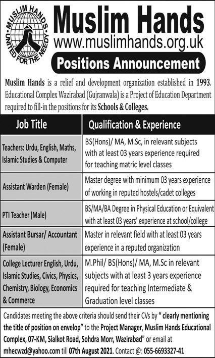 Muslim Hands Teaching Staff Jobs 2021