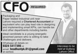 Chief Financial Officer CFO Job 2021 In Lahore Office