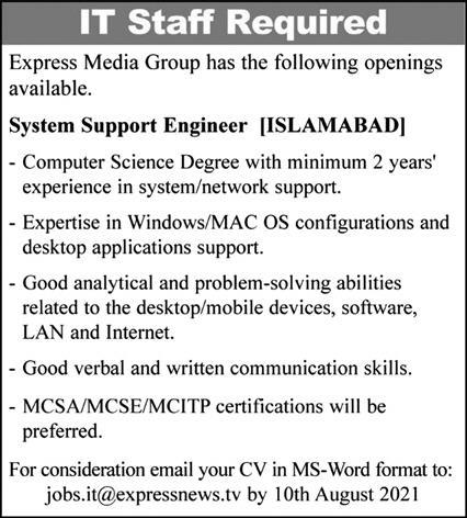 System Support Engineer Jobs in Express Media Group