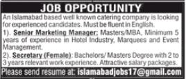 Catering Company Jobs 2021 in Islamabad