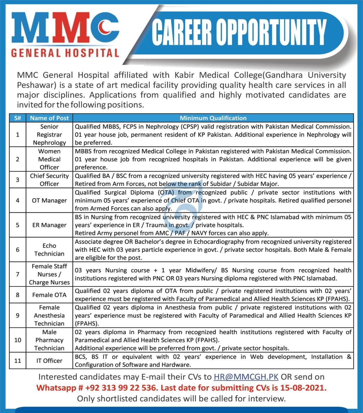 MMC General Hospital Jobs 2021 In Peshawar KPK