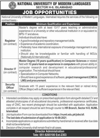 NUML Islamabad Jobs 2021 for Registrar