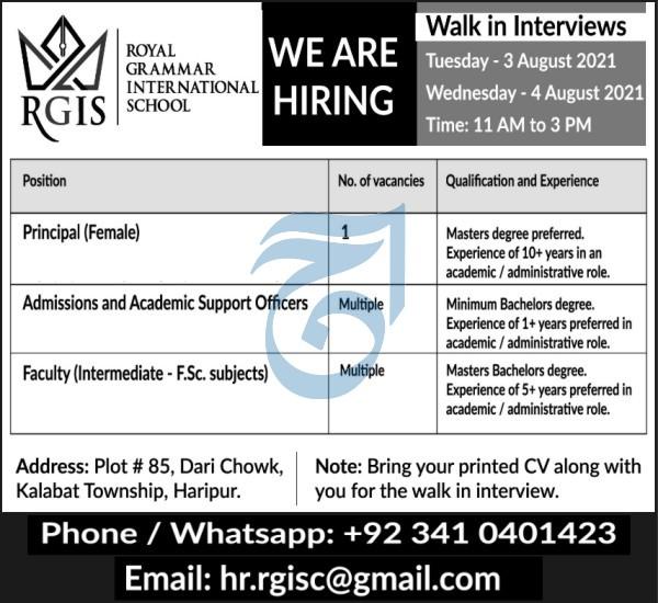 Royal Grammar International School Walk In Interviews 2021