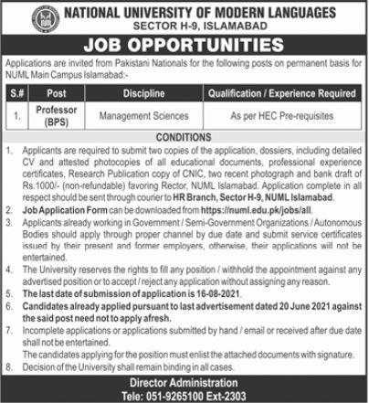 NUML Islamabad Jobs 2021 for Professor