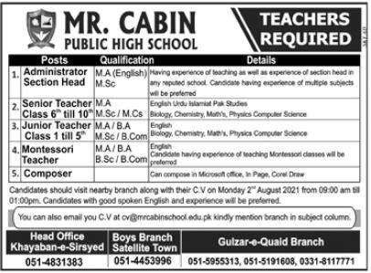 MR Cabin Public High School Jobs 2021