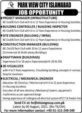 Park View City Islamabad Jobs 2021