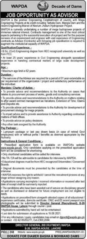 Water & Power Development Authority WAPDA Job 2021