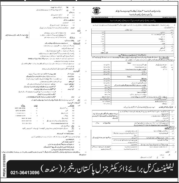 Headquarter Pakistan Rangers Sindh Pakistan 2021