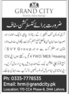 Grand City Housing Society Jobs 2021 in Lahore