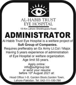 Al Habib Trust Eye Hospital Job 2021 For Administrator