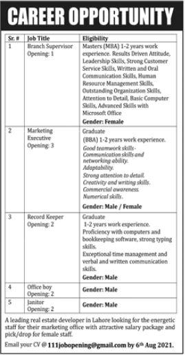 Real Estate Developers Jobs 2021 For Management Staff