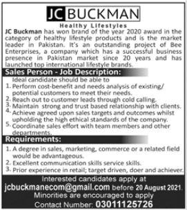 JC Buckman Job 2021 For Salesperson In Lahore