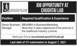 Chughtai Lab Job 2021 For Senior Business Manager