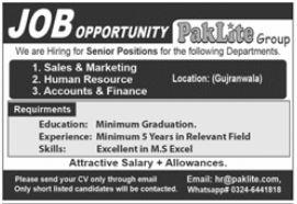 Paklite Group Jobs 2021 In Gujranwala
