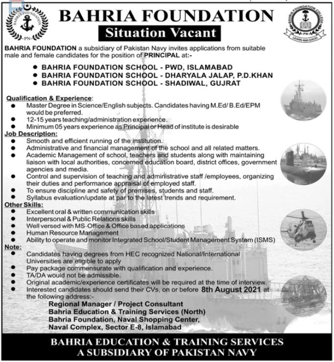 Bahria Foundation Jobs 2021 for Principal