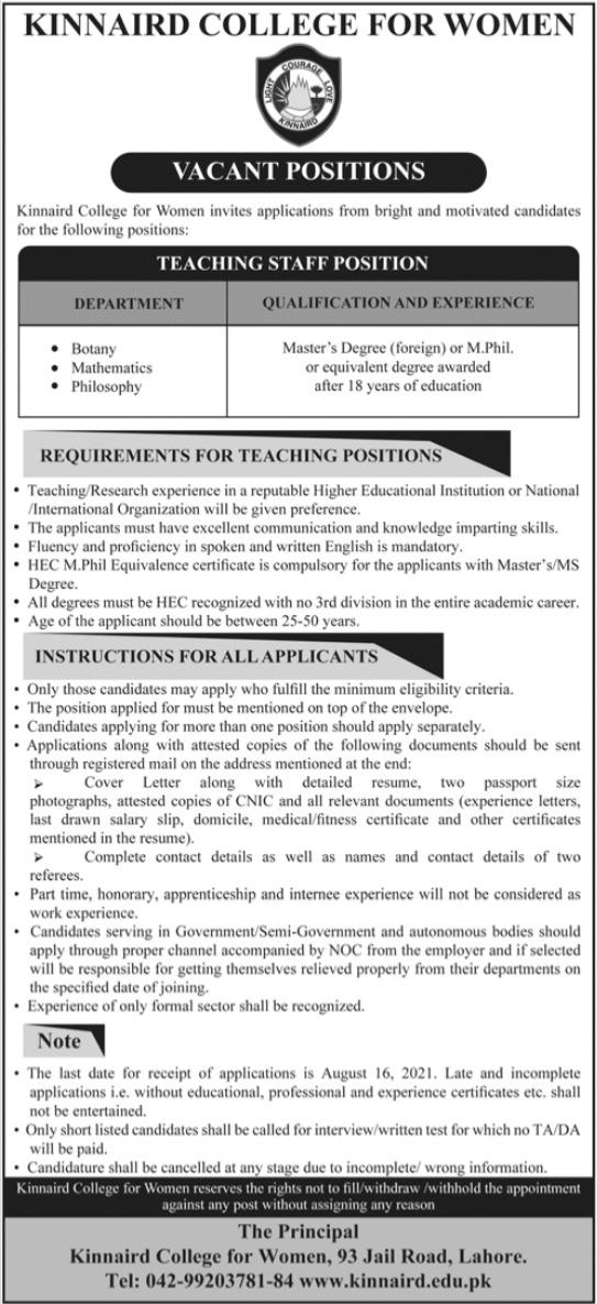 Kinnaird College for Women KCW Jobs 2021 For Teaching Staff