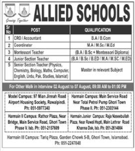 Allied Schools Jobs 2021 in Islamabad
