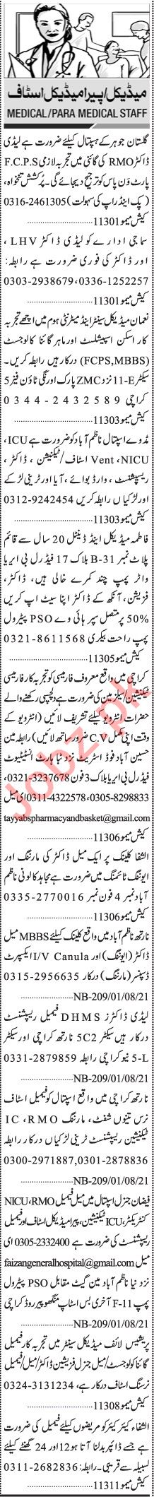 Jang Sunday Classified Ads 1st August 2021 for Medical Staff