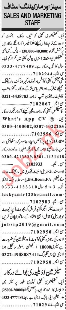Jang Sunday Classified Ads 1st August 2021 for Sales Staff