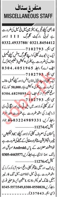 Jang Sunday Classified Ads 1st August 2021 Office Staff