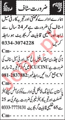 Jang Sunday Classified Ads 1st August 2021 for Office Staff