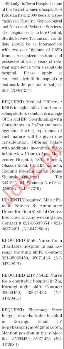 The News Sunday Classified Ads 1st August 2021 for Medical