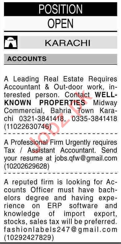 Dawn Sunday Classified Ads 1st August 2021 for Accounts