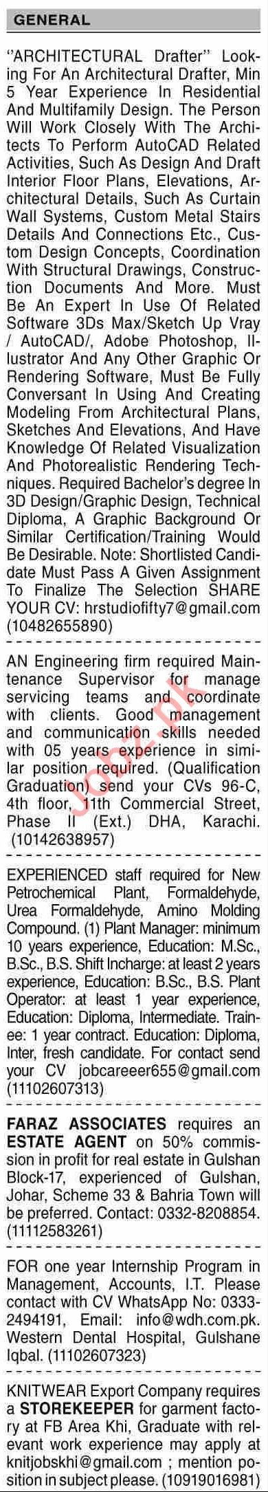 Dawn Sunday Classified Ads 1st August 2021 for General Staff