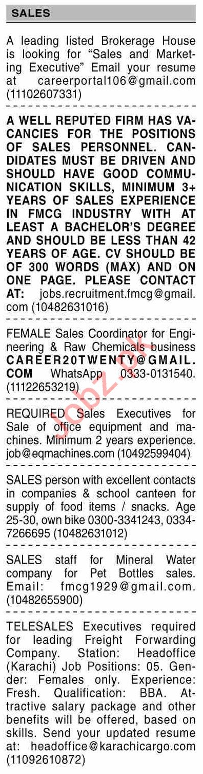 Dawn Sunday Classified Ads 1st August 2021 for Sales Staff