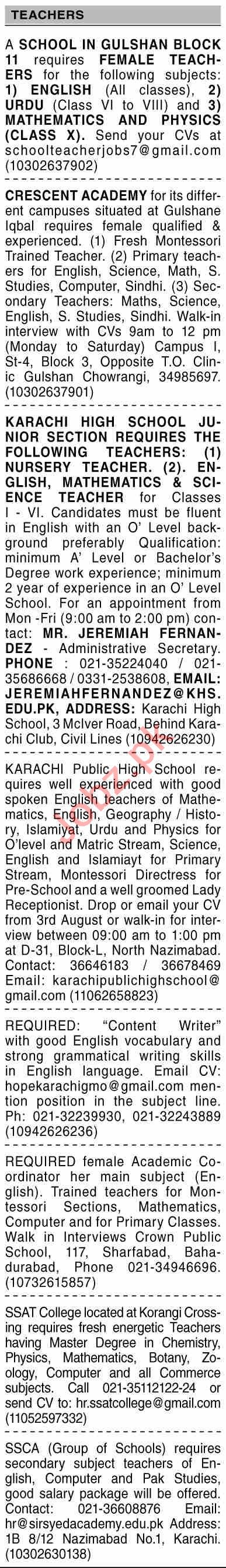 Dawn Sunday Classified Ads 1st August 2021 for Teaching