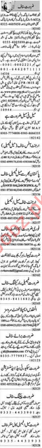 Dunya Sunday Classified Ads 1st August 2021 for Office Staff