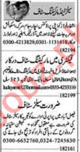 Dunya Sunday Classified Ads 1st August 2021 for Sales Staff