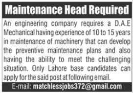 Maintenance Head Job 2021 In Lahore
