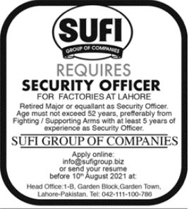 Sufi Group of Companies Job 2021 In Lahore