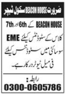 School Teacher Job 2021 In Lahore